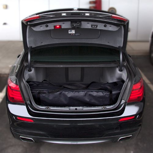 The small size fits into the trunk of a car