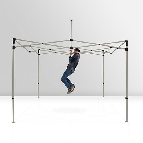 Steel tent frame is sturdy and can withstand frequent use