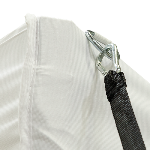 Carabiner on tie-down makes it very easy to attach to structures like tent canopies