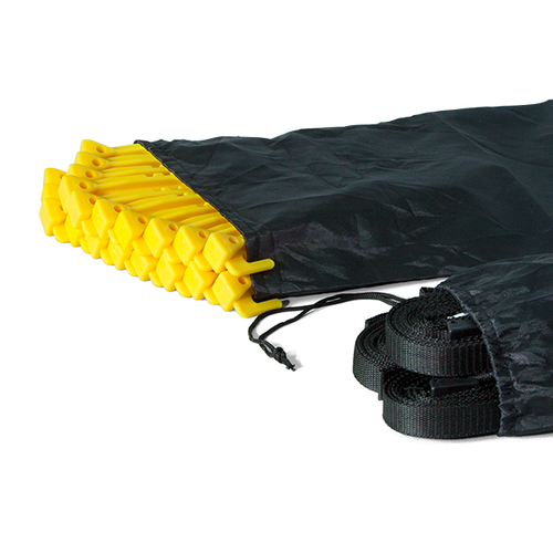 Set of 20 yellow PVC stakes and 2 carry bags