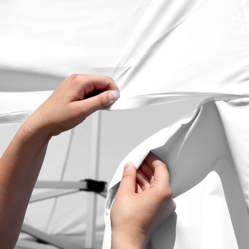 Attaching the awning to the tent is easy with the included strips of hook-and-loop fastener