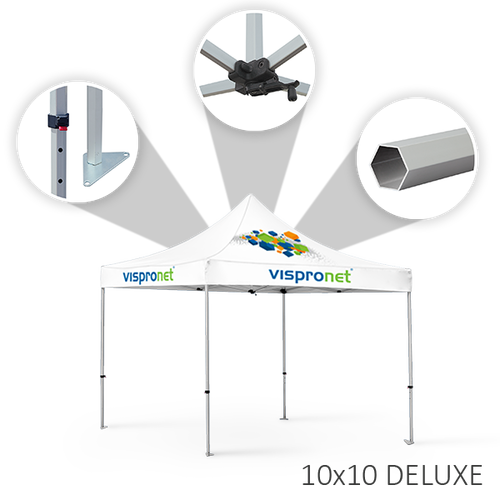 Our 10 x 20 stock event tent, offered in the Deluxe style