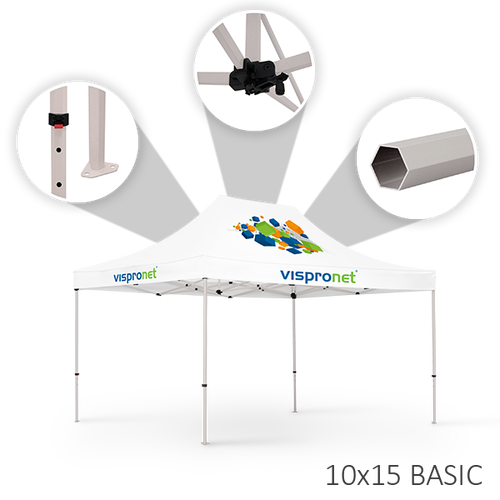 Our 10 x 15 stock tent offered in the Basic style
