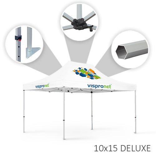 Our 10 x 15 stock tent, offered in the Deluxe style