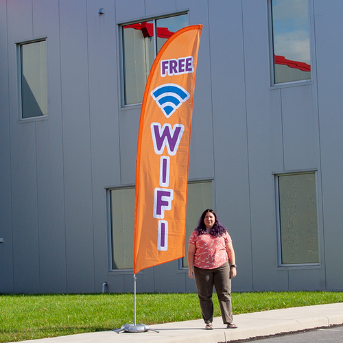 Feather flags work great as an outdoor advertising solution