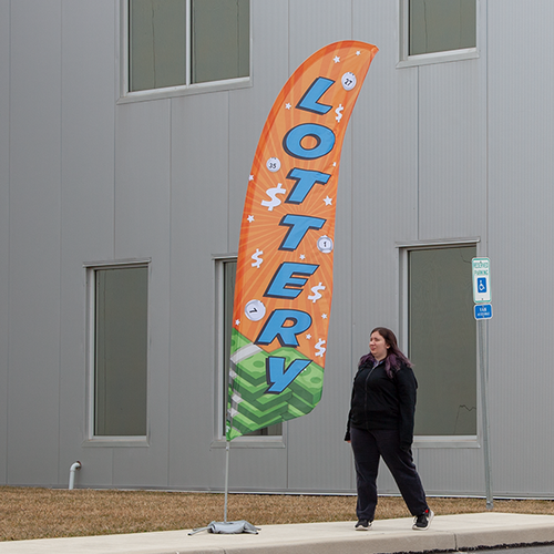 Our feather flags work great for outdoor advertising