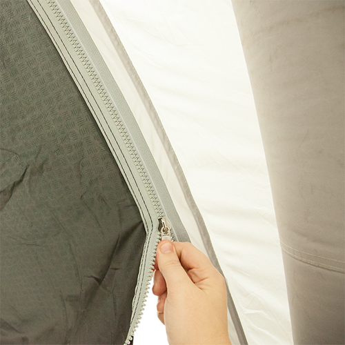 Simply zip tent and tunnel together to assemble