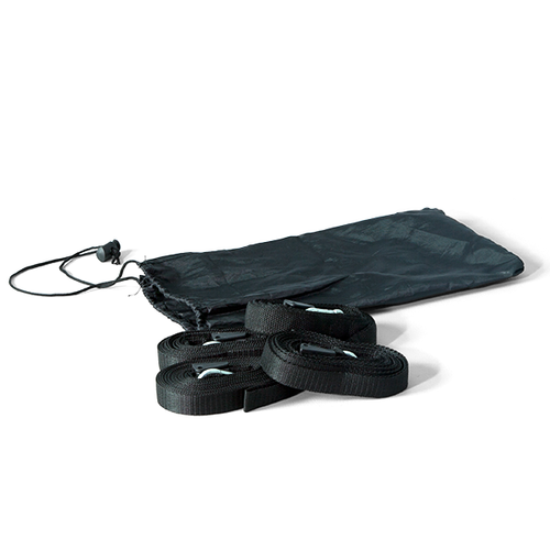 4 webbing tie-downs and carry bag are included