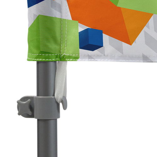Attaches to pole set with tab