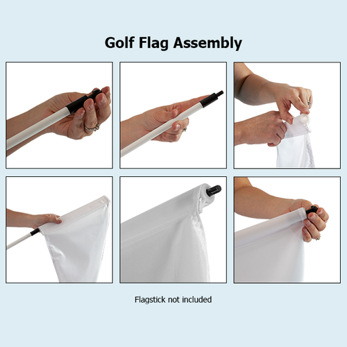 Setup for putting green flags is quick and easy