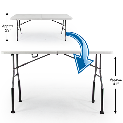 """Bent Table Leg Risers - Bar Height increase the height of 29"""" tall Vispronet tables by 12"""" to approx. 41"""""""