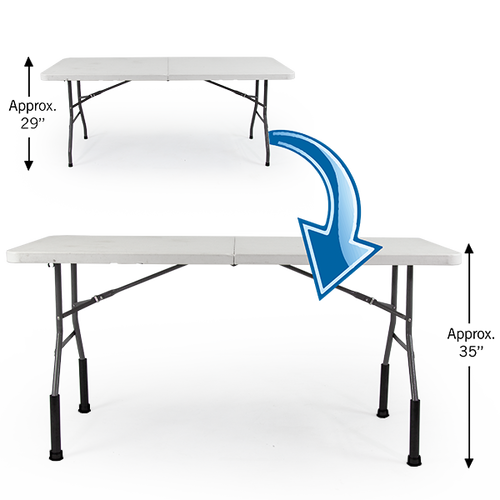 """Bent Table Leg Risers - Counter Height lift the height of 29"""" tall Vispronet tables by 6"""" to approx. 35"""""""