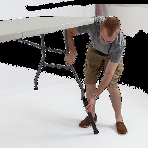 Table Leg Extenders easily slide into the table legs