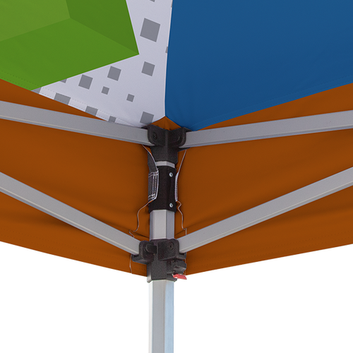 Custom printed liner conveniently attaches to tent frame and canopy via hook-and-loop fastener