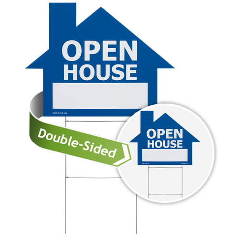 House shaped sign with double-sided printing