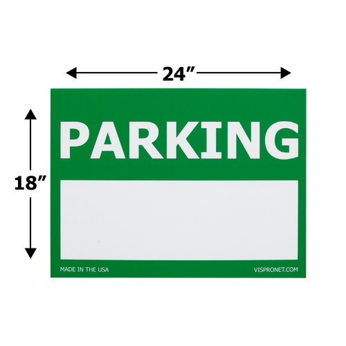 Size of the text box parking sign