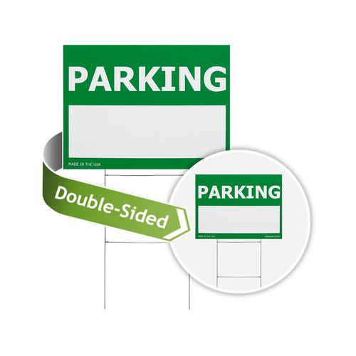 Parking sign is available in double-sided printing