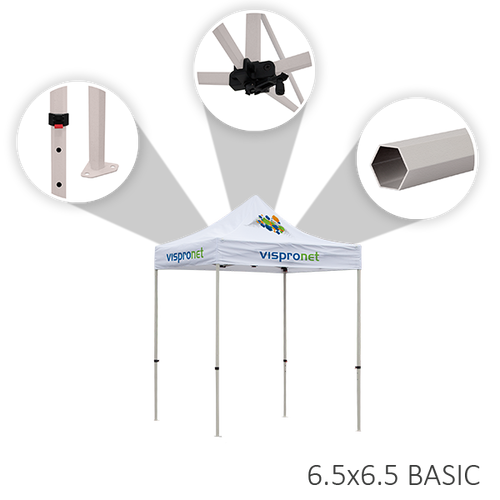 Basic tent frame is made from durable steel and can be adjusted to different heights