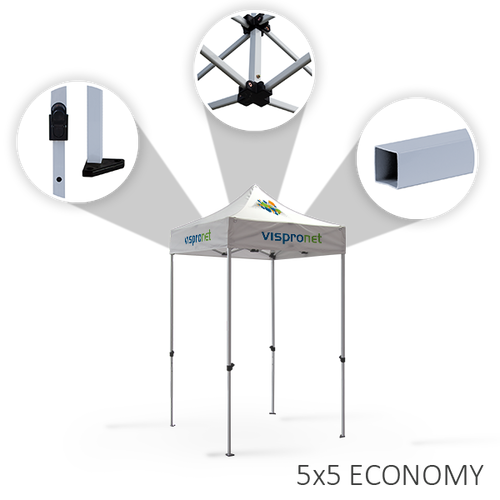 Economy tent frames with height-adjustable legs
