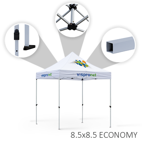 The features of the Economy tent frame option