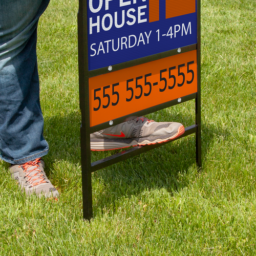 Stake bottom on frame allows sign to be mounted in yards