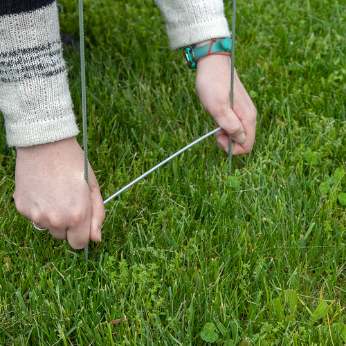Inserting step stakes into the ground