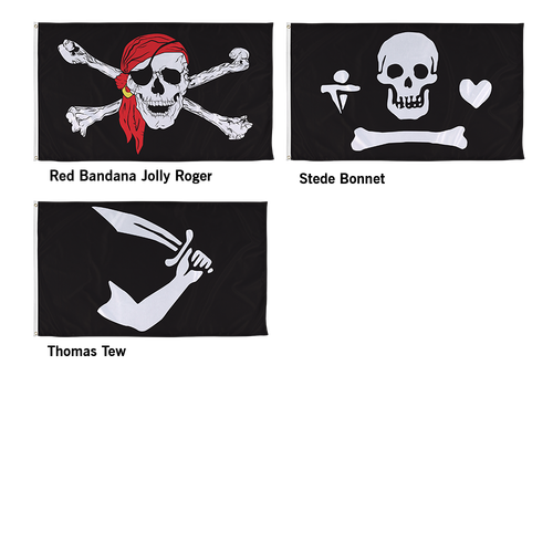 All pirate flag styles are printed on durable outdoor material for long term use
