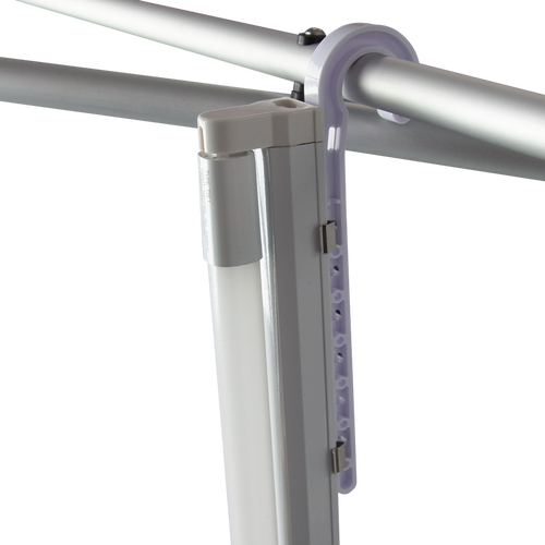 Plastic holder is attached to the bars with the hook end