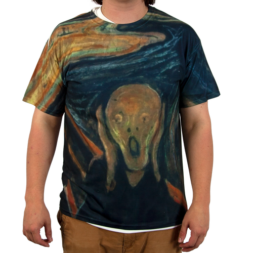 """Our All Over Print T-Shirt with """"The Scream"""" sublimated onto the fabric"""