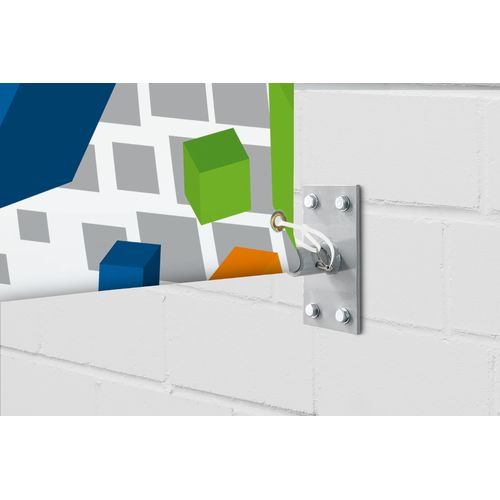 Heavy-duty mounting brackets mount on walls and other flat surfaces