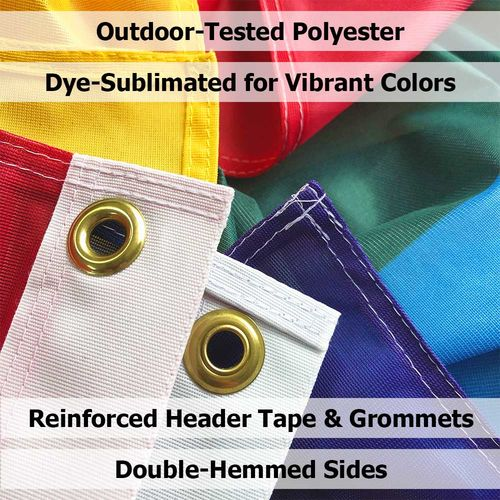Polyester fabric is finished with grommets and hemmed sides