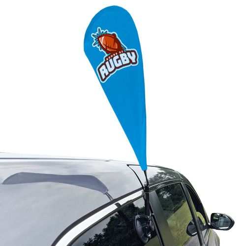 Car flag with suction cup mount