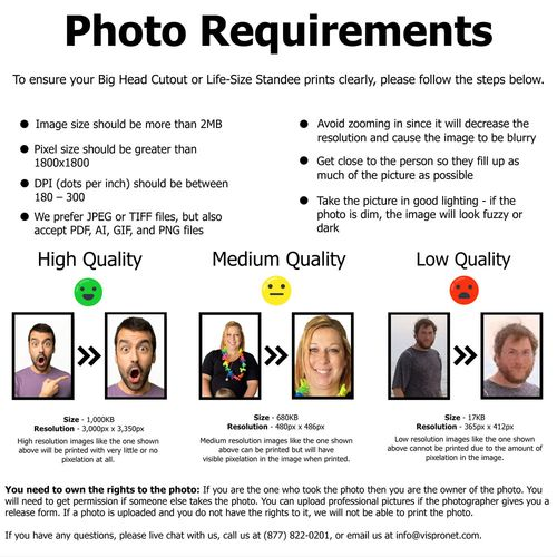 Photo Stand In Printing Requirements