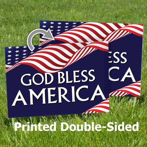 God Bless America Sign Printed Double-Sided