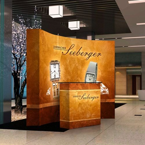 Create a professional atmosphere with Vispronet backdrop and counter products