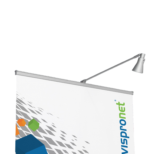 A small, sleek Silver Roll Up Banner Stand Display Light gives your banner stand extra attention