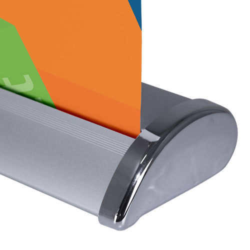 Chrome end caps match the look of the Deluxe Retractable Banner