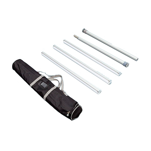 Hardware set includes center pole, clamping rails and carry bag