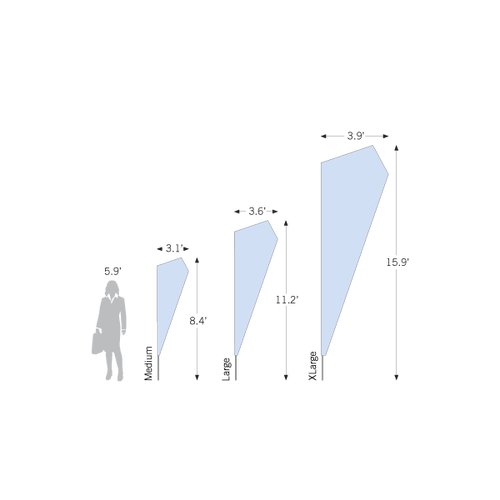 Choose from three sizes, ranging from 8.4 ft to 15.9 ft tall