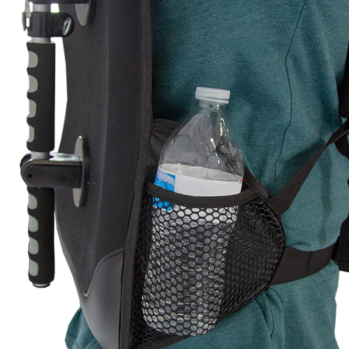 Included pockets for water bottles are on either side