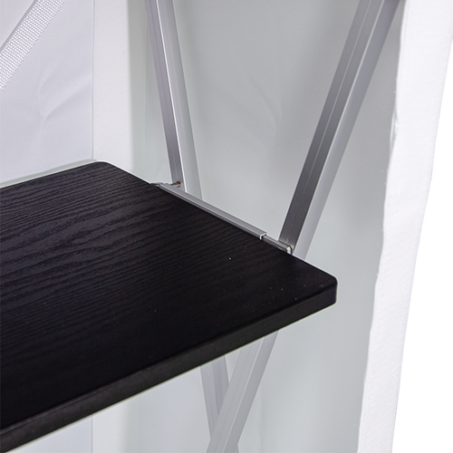 Shelf rests safely on the frame and offers additional storage space