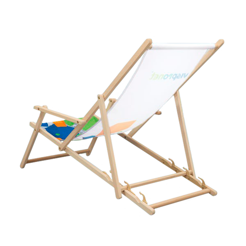 The Promotional Beach Chair with Arm Rest has a natural beechwood frame that is Forest Stewardship Council® certified