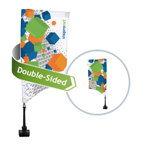 Two-sided car flags are available for better visibility