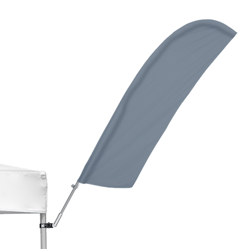 The tent feather flag is available in all the classic shapes, including Angled (shown)