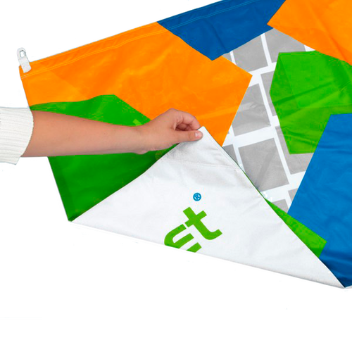 Double-sided personalized flags feature two prints sewn together and can have different images on either side