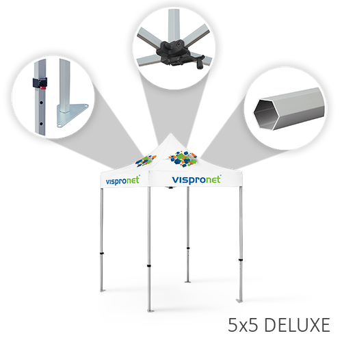 Deluxe tent frames feature height-adjustable legs and rooftop crank