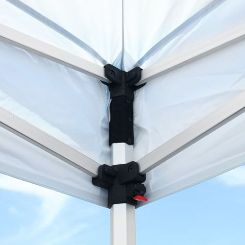 Canopy fits snug on corners, connecting to the frame with hook fastener