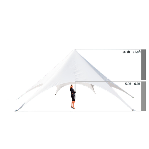 Adjustable in height from 16.1ft - 17.8ft