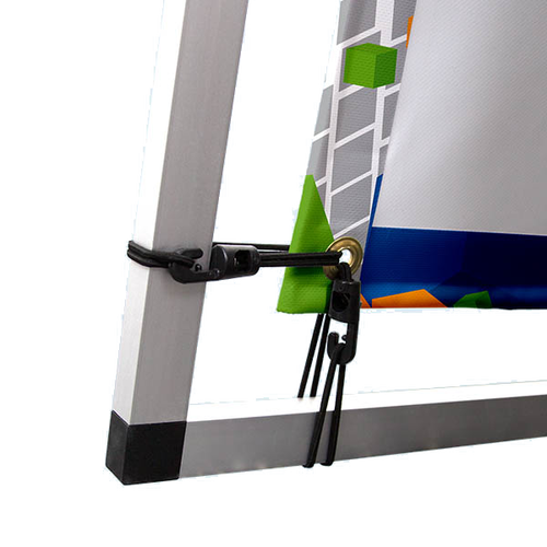 Black banner bungee cords keep print taut at all times