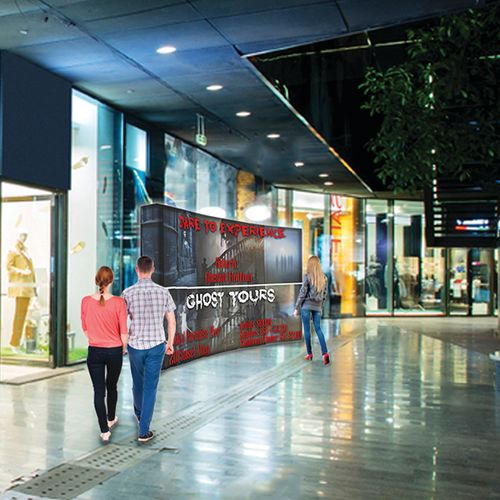 Wide display with unique frame and LED lighting is sure to draw attention to and enhance your brand visibility